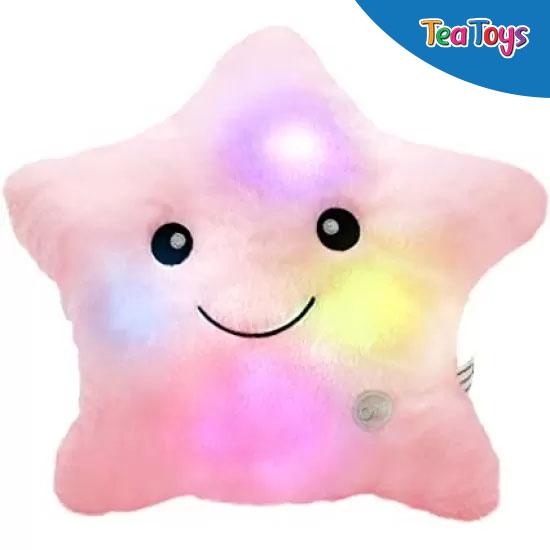 Плюшена звездичка с LED светлини в розово