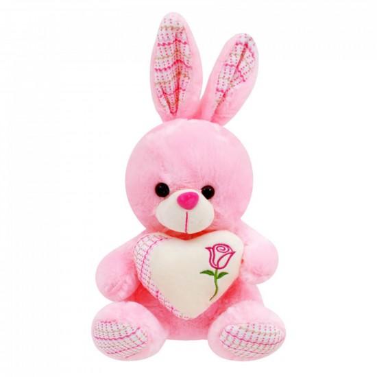 Плюшено розово зайче със сърце /говори и пее на български/