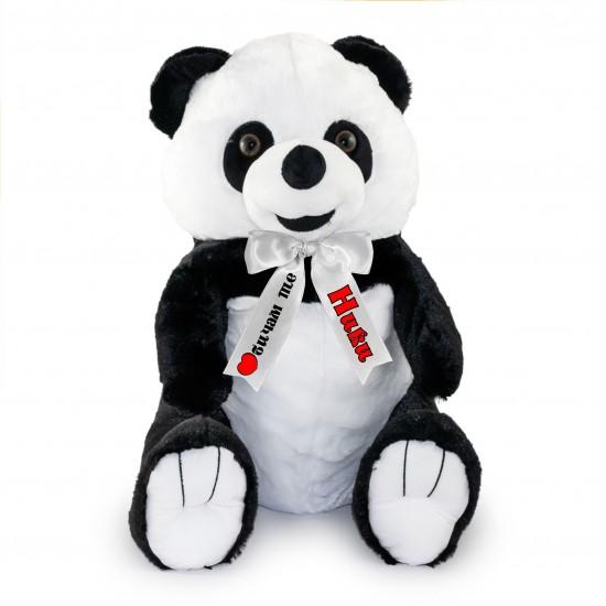 Плюшена панда с надписана панделка