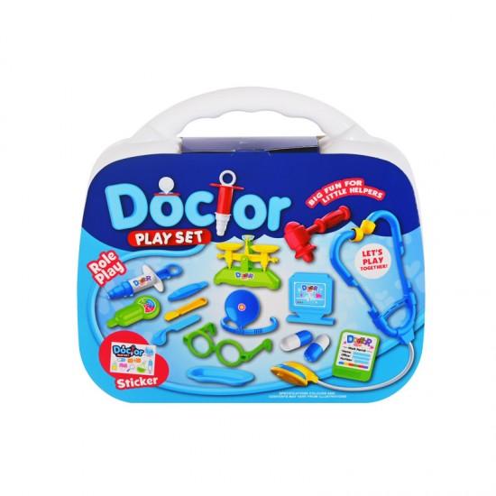 Докторски комплект в куфарче/син/