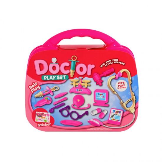 Докторски комплект в куфарче/розов/