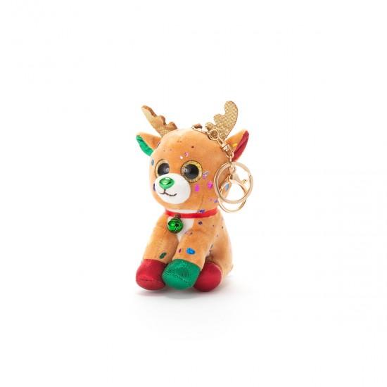 Плюшено еленче на ключодържател кафяво
