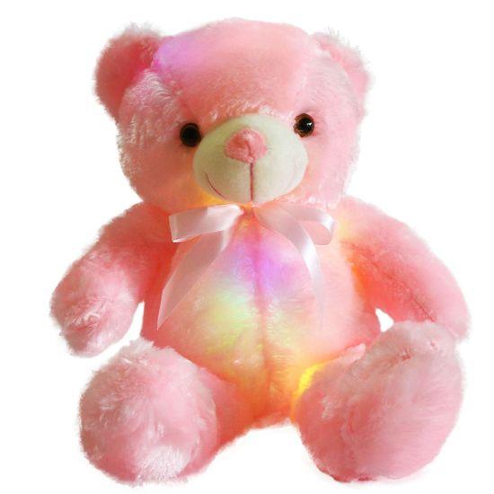 Плюшено мече с LED светлини в розово