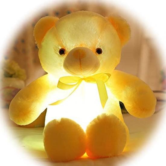 Плюшено мече в жълто с LED светлини