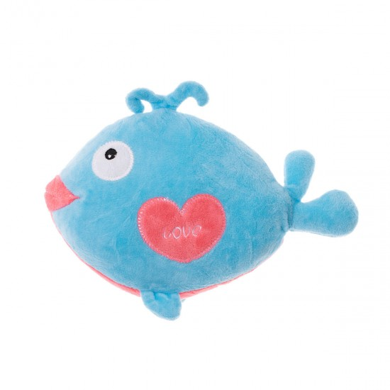 Плюшена рибка със сърчице в синьо