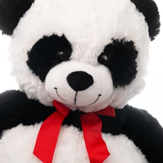 Плюшена панда гигант с червена панделка