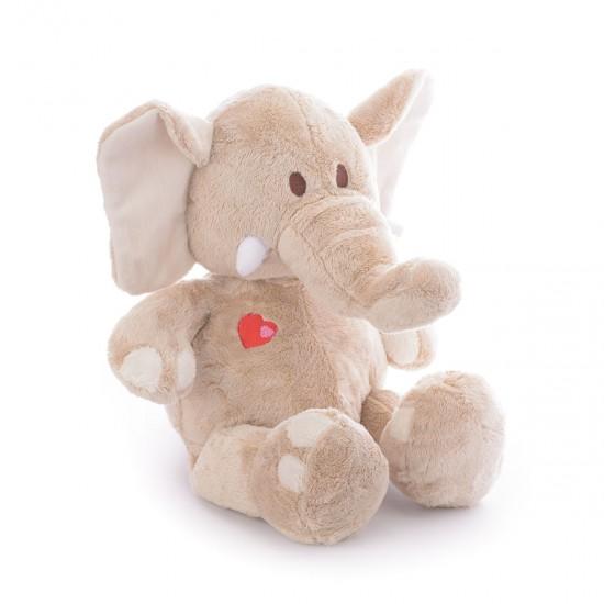 Плюшен слон със сърце в бежово
