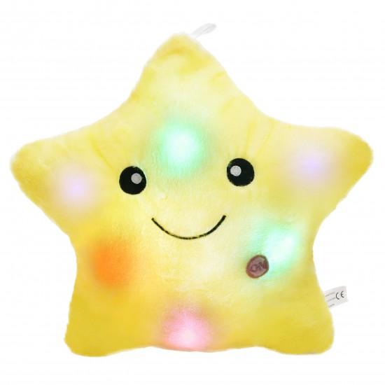 Плюшена звездичка с LED светлини в жълто