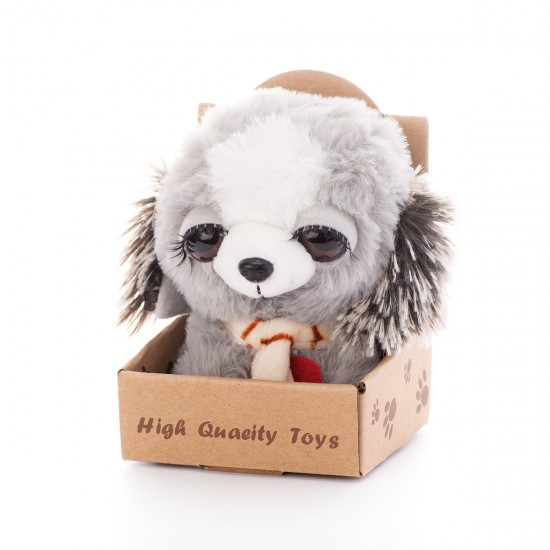 Плюшено куче, сиво в органична опаковка