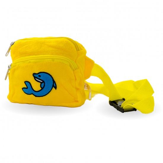 Плюшена чантичка с делфин  в жълто