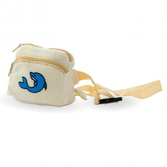 Плюшена чантичка с делфин  в бежаво