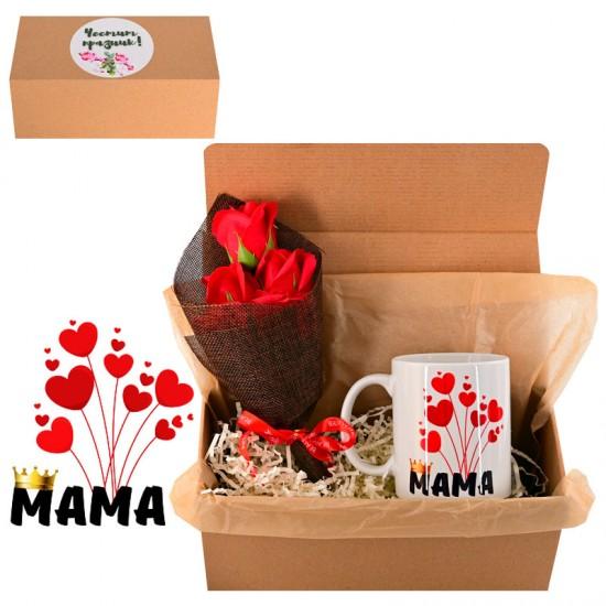 """Подаръчен комплект за 8 март """"Честит Празник!"""" /чаша и букетче рози/."""
