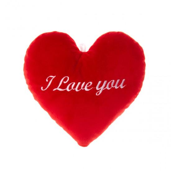 """Плюшено сърце """"I Love you"""" в червено"""