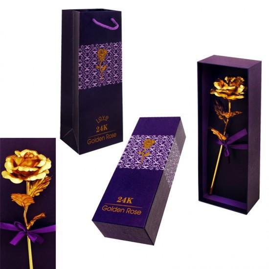 """""""Златна роза"""" в кутия с подаръчна торбичка"""