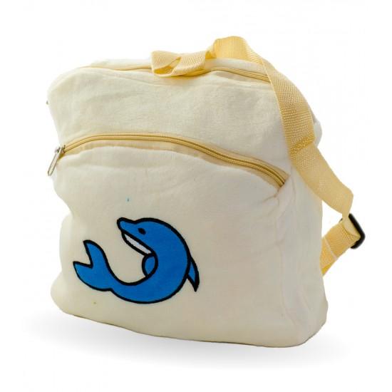 Плюшена раничка  с делфин, бежаво