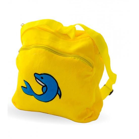 Плюшена раничка с делфин, жълто