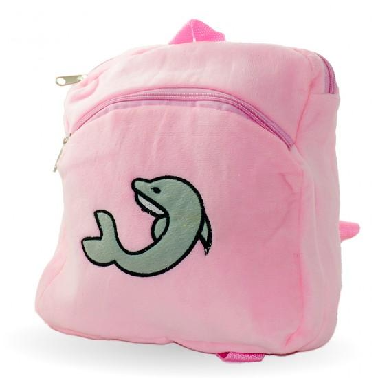 Плюшена раничка с делфин, розово