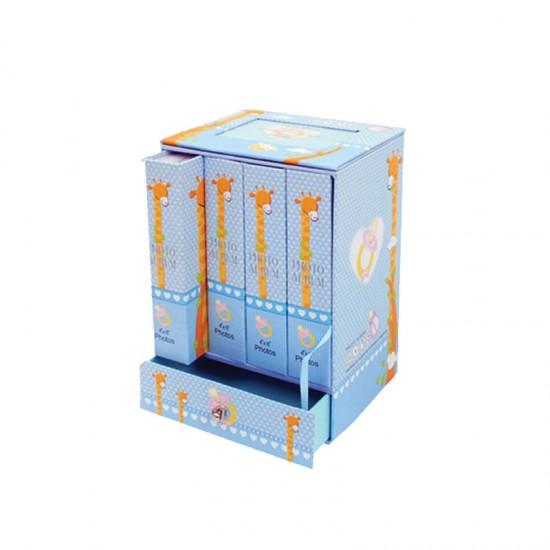Бебешки фотоалбум - 4 бр.в кутия с чекмедже и фоторамка/син/