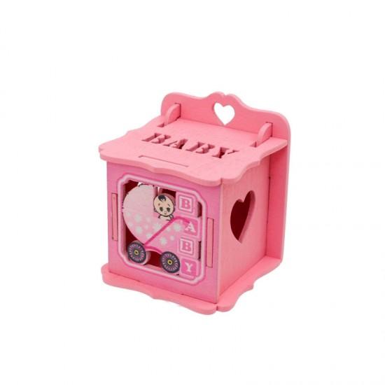 Бебешка кутийка за съхранение от дърво/розова/