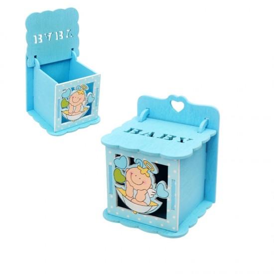 Бебешка кутийка за съхранение от дърво/синя/