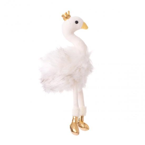 Плюшен лебед със златна корона в бяло