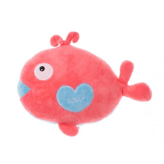 Плюшена рибка със сърчице в розово