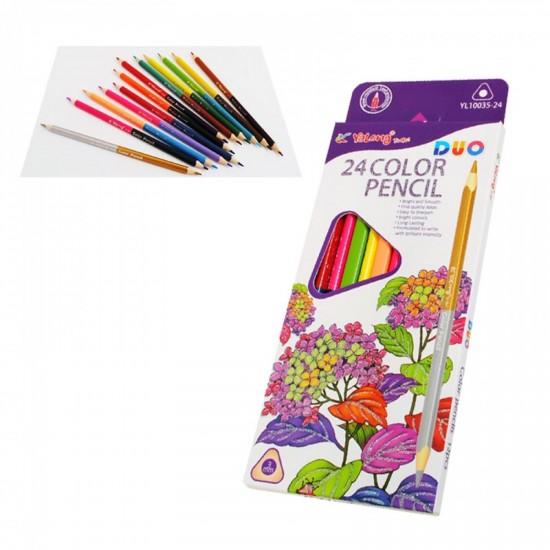 Двуцветни /двустранни/ моливи /12 броя - 24 цвята/