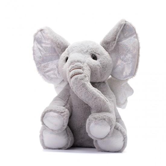 Плюшено слонче с ангелски криле в сиво