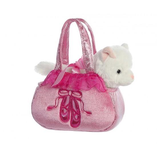 Плюшено коте в розова чантичка