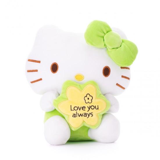 Плюшено котенце Кити със зелена панделка
