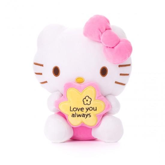 Плюшено котенце Кити с розова панделка