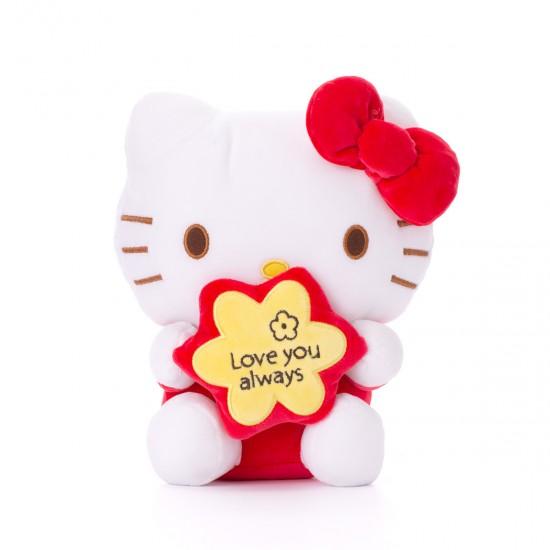 Плюшено котенце Кити  с червена панделка
