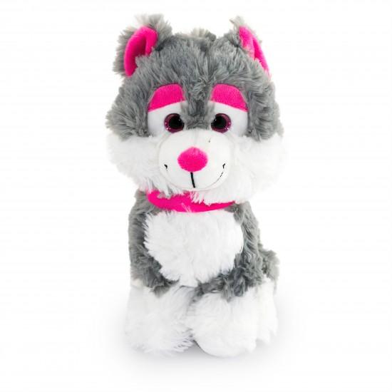 Плюшено куче хъски с розова каишка