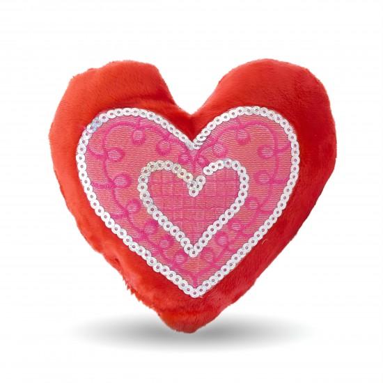 """Плюшено сърце с пайети """"Обичам те тооолкова много"""""""