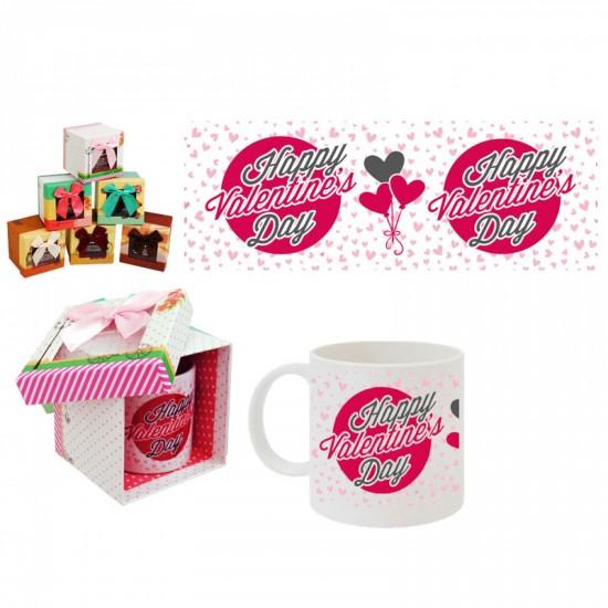 """Чаша с надпис в подаръчна кутия """"Happy Valentine's Day"""""""