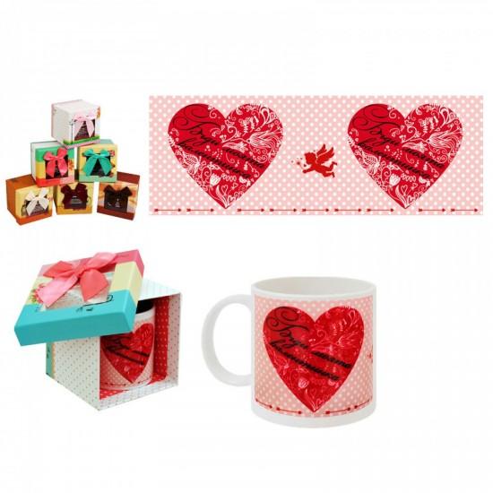 """Чаша с надпис в подаръчна кутия """"Бъди моята валентинка"""""""