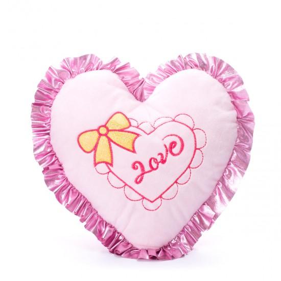 Плюшена възглавничка-Сърце в розово
