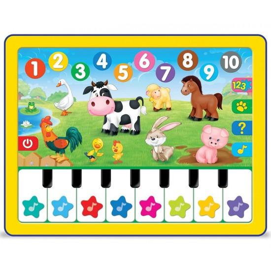 Образователен таблет с пиано и домашни животни