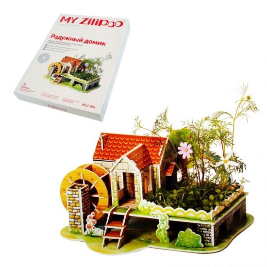 """3D пъзел  """"Къща на дъгата"""" с жива градина /29 ел./"""
