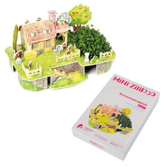 """3D пъзел """"Весела къща"""" с жива градина /47 ел./"""