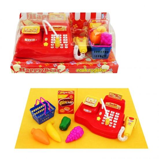 Касов апарат с кошничка, продукти и кантар